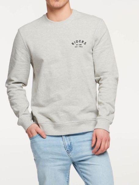 Men's Riders by Lee Trademark Fleece Jumper in Grey Marle