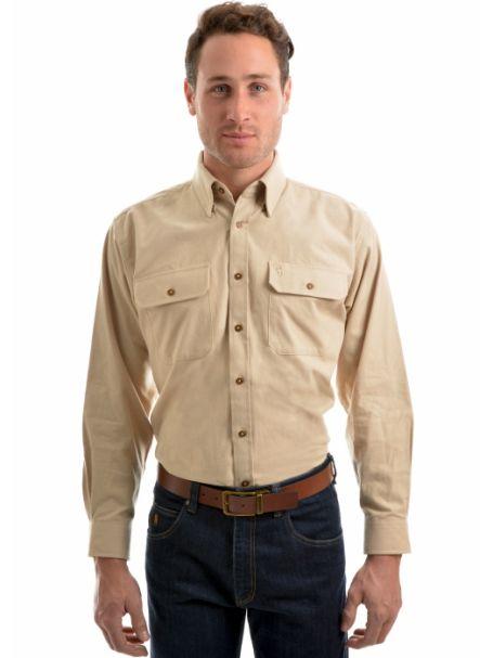 Men's Thomas Cook Brushed Moleskin 2 Pocket Long Sleeve Shirt BONE