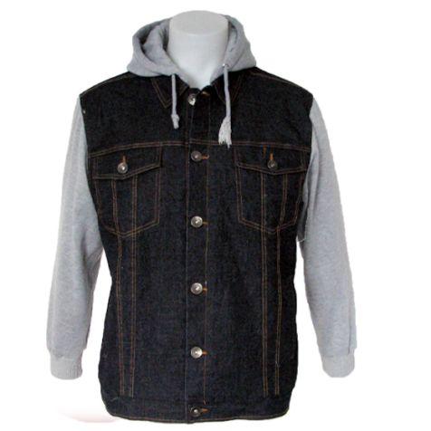 Coast Highway Mens Fleece Lined Denim Jacket With Hoodie Men's Fashion Winter Jacket